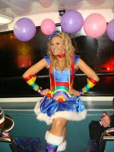 rainbow lady corset costume bright colours all sizes  ebay