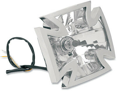 RWD CHROME IRON CROSS HEADLIGHT ASSEMBLY HARLEY DYNA FXD FXDL FXDWG WIDE GLIDE