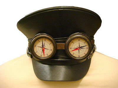SDL Steam Punk military hat with handmade rustic goggle/ dial
