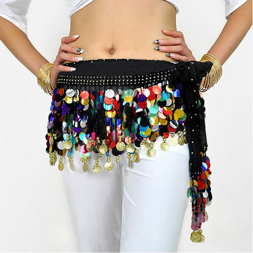 Shining Multi-color Sequins Coin Belly Dance Hip Scarf