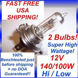 2-x-12V-140-100W-H4-9003-Halogen-High-Wattage-Headlight-bulb-140-100-2-Bulbs