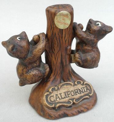 Salt Pepper Treasure Craft Bears on Tree Wood Look California Pottery 4.5in Vtg