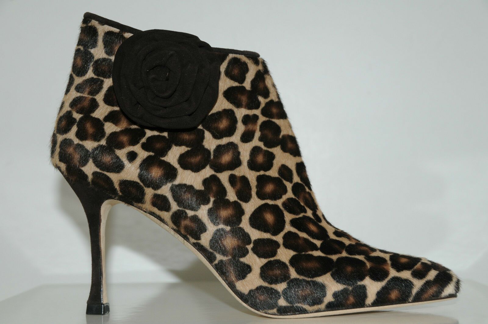 New MANOLO BLAHNIK MALEE Leopard PONY Brown Beige SHOES Boties  BOOTS 35.5