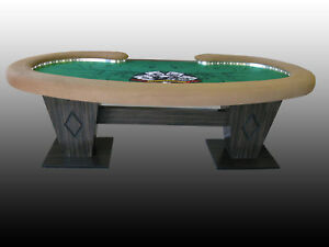 Kidney bean shape custom poker table w fully skirted for 10 person poker table top