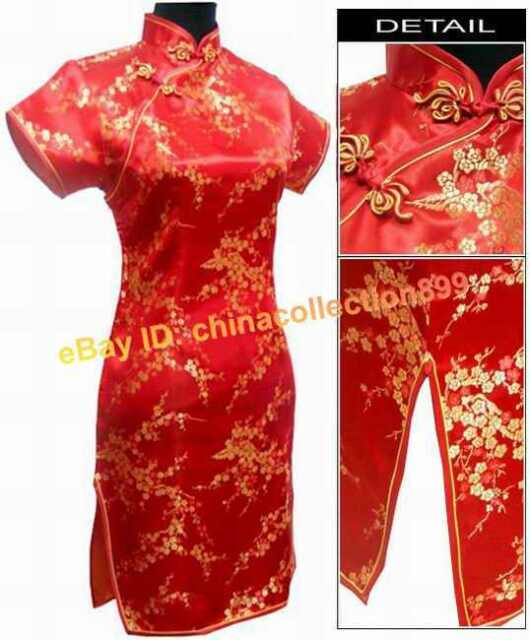 Chinese Mini Silk Cheongsam Evening Dress Red WMD-01
