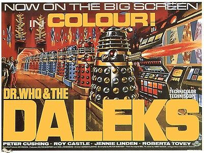 "VINTAGE MOVIE POSTER 8""X6 METAL ""DR WHO AND THE DALEKS"""