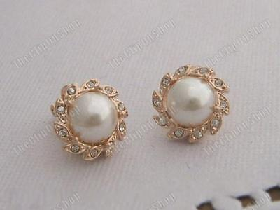 COMFY CLIP ON 1.2cm stud PEARL & CRYSTAL EARRINGS