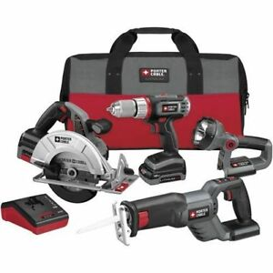 PORTER-CABLE-18V-Lithium-4-Tool-Combo-Kit-PCL418C-2R