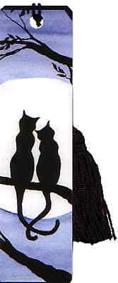 Two black cats tasselled bookmark