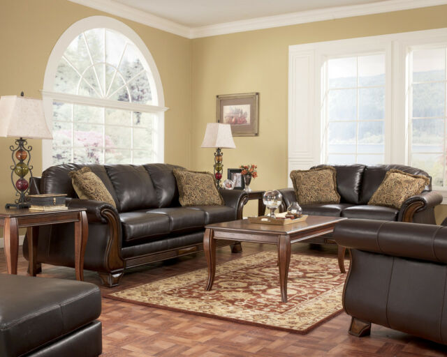 KELLY - OLD WORLD WOOD TRIM & FAUX LEATHER SOFA COUCH SET LIVING ROOM FURNITURE