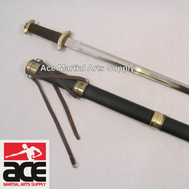 New Celtic Viking Medieval Norseman Steel Spatha Sword Broadsword with Scabbard