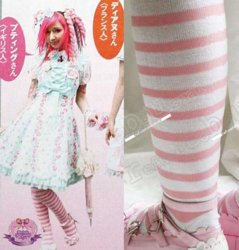 DECORA Lolita Pink White Stripe Over-Knee Stocking Sock
