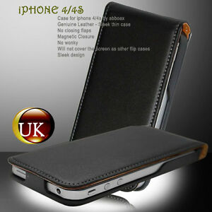 NEW-BLACK-DUAL-FLIP-GENUINE-LEATHER-CASE-COVER-PROTECTOR-FOR-iPHONE-4-AND-4S