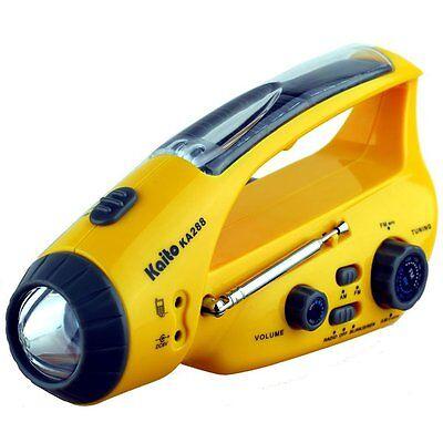 Kaito KA288 Emergency Crank & Solar AM FM Radio with LED Flashlight