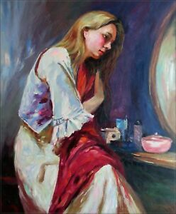 Quality-Hand-Painted-Oil-Painting-Lady-Arranging-Her-Hair-20x24in