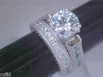 2 Pc 2.5ct Princess Cut & Round Wedding Ring Set Antique Style 5 6 7 8 9