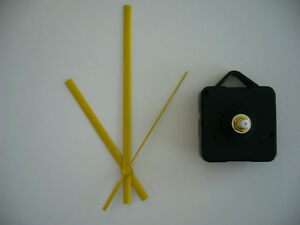 QUARTZ-CLOCK-MOVEMENT-SHORT-SPINDLE-130mm-YELLOW-HANDS