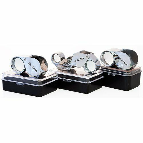 3pc Jewelers Eye Loupe Set 10x 30x + Dual Magnifier Loupes Glass Lens US Shipper