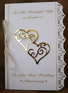 Personalised Handmade A5 Card Wife Wedding Anniversary Silver Ruby Golden 1509