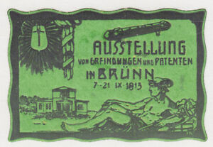 Germany-1913-green-Label-to-Publicize-Invention-Patent-Exhibition-in-Brunn