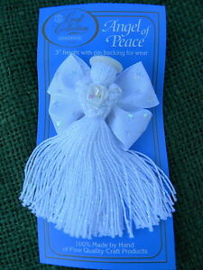 2 NIP White 3 Handmade Ribbon Threads Tassel Angel of Peace Craft Pin Brooch