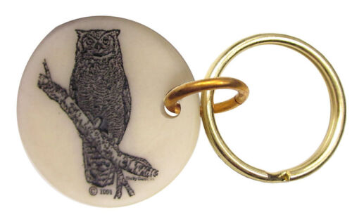 Montana Marble Etched Key Chain Horned Owl