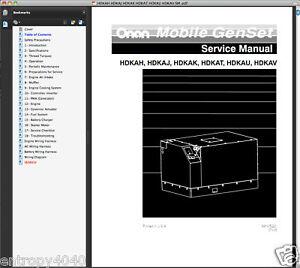 Onan-HDKAJ-Genset-PARTS-IPL-Owner-SERVICE-Kubota-ENGINE-MANUAL-5-MANUALS