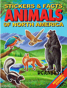 ANIMALS-OF-NORTH-AMERICA-Reusable-Activity-Sticker-Fact-Book-Ages-4