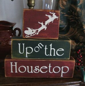 Primitive Shelf Blocks Sign Up on the Housetop Santa Claus Reindeer Christmas