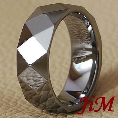 Tungsten Men Wedding Band Ring Hot Feceted Titanium Color Jewelry Size 6-15