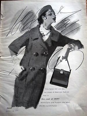 1959 Lord & Taylor Coat & Purse Fashion Art by Ad