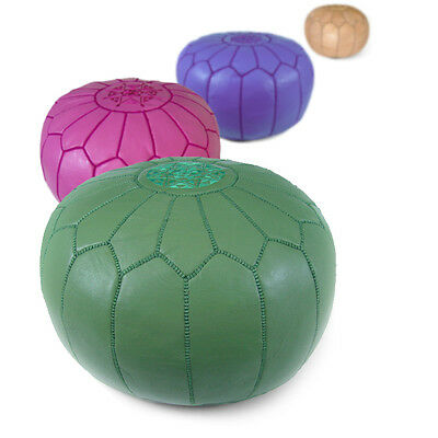 Moroccan Leather Pouf Ottoman Footstool Poof Pouffe