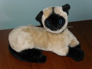 13-034-vintage-1973-plush-Dakin-lying-SIAMESE-KITTY-CAT