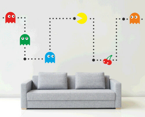 PACMAN | Wall art sticker kit | VINYL KIDS RETRO GAMES ROOM STENCIL BEDROOM | G1