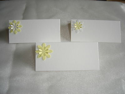 10 3D DAISY LILY NAME PLACE CARDS SETTING WHITE & YELLOW set B WEDDING BIRTHDAY