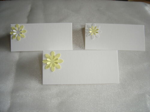 10 3D DAISY LILY NAME PLACE CARDS WHITE & YELLOW set B