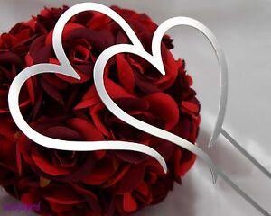 1-Pc-19cm-Double-Heart-Silver-Metal-Wedding-Cake-Topper-Silver