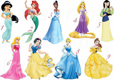 DISNEY PRINCESS STICKER WALL DECAL OR IRON ON TRANSFER T-SHIRT FABRICS BELLE ETC