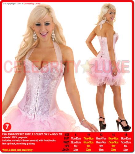 New Ladies Burlesque Corset Rockabilly Moulin Rouge Fancy Dress Costume Overbust