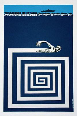 "Cuban movie Poster 4 film""SWIMMING Vacation""italian art.Interior home design"