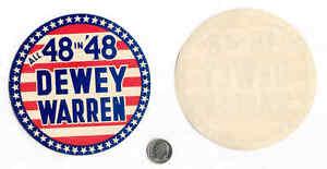 "1948 RARE, DEWEY-WARREN ""ALL 48 IN '48"" DECAL - MINT"