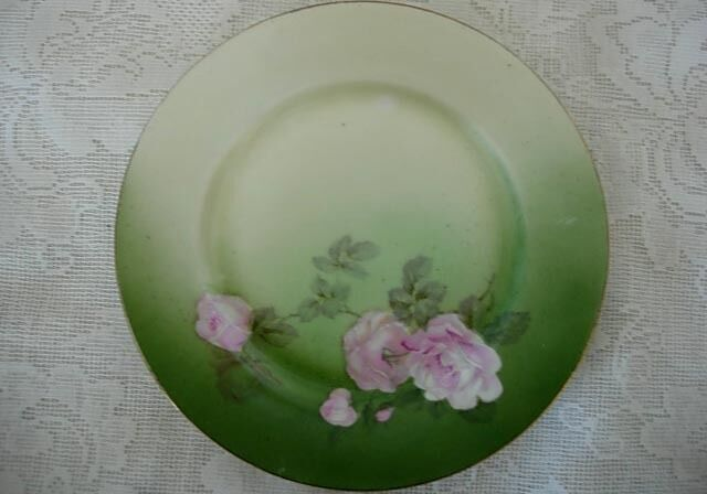 Beautiful Vintage Hand Painted Green w/Pink Roses Plate