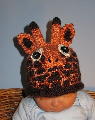 PRINTED INSTRUCTIONS-BABY GIRAFFE ROLL BRIM BEANIE ANIMAL HAT KNITTING PATTERN
