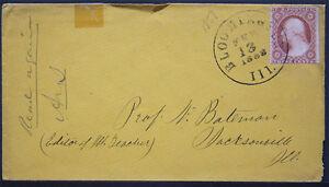 Cover -1858 Bloomington ILL to Prof Newton Bateman Jacksonville ILL S248