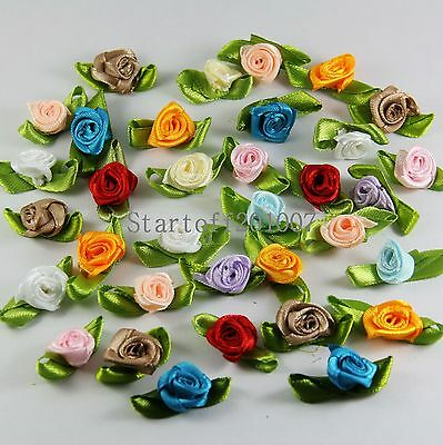 100pcs Satin Ribbon rose flower with leaf Appliques mixed