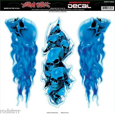Lethal Threat Flaming Blue Skull Set Decal Sticker Art Graphic Biker Custom
