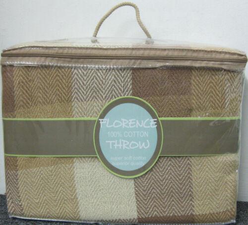 Bed Throw 3 SIZES Beige Check Design 100/% Cotton Sofa