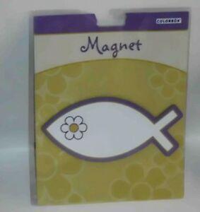 Purple-White-Christian-Fish-Magnet-NIP