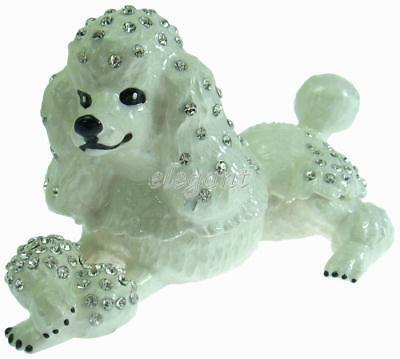 White Poodle Dog Crystals Jewellery Trinket Ring Box