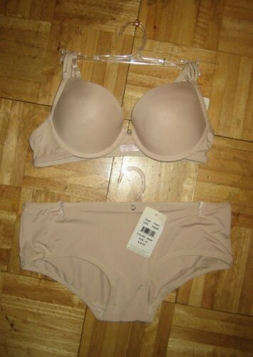 Push up bra demi cup heart detail with hipster panties 34C//D only
